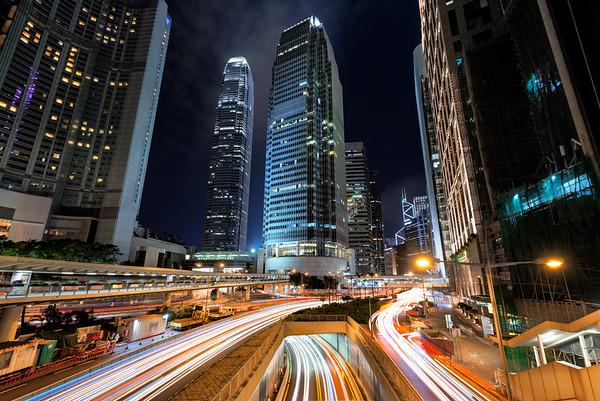 Night time traffic light in Hong Kong city (landscape orientation)