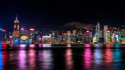 Hong Kong skyline with the Hong Kong Convention and Exhibition Centre