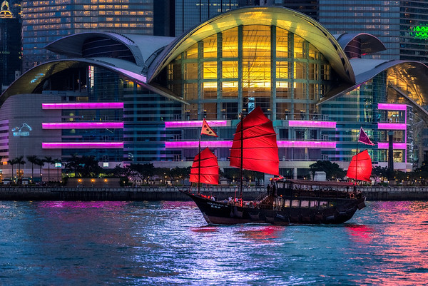 The iconic red sail boat