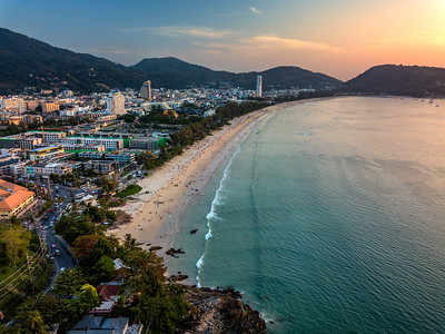 Aerial view of Patong Beach at sunset