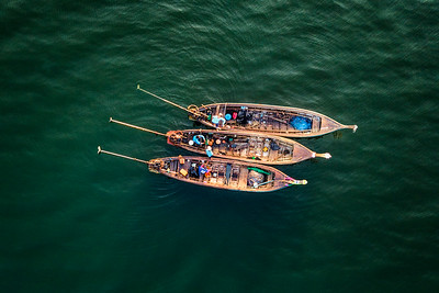 Long tail boat from above