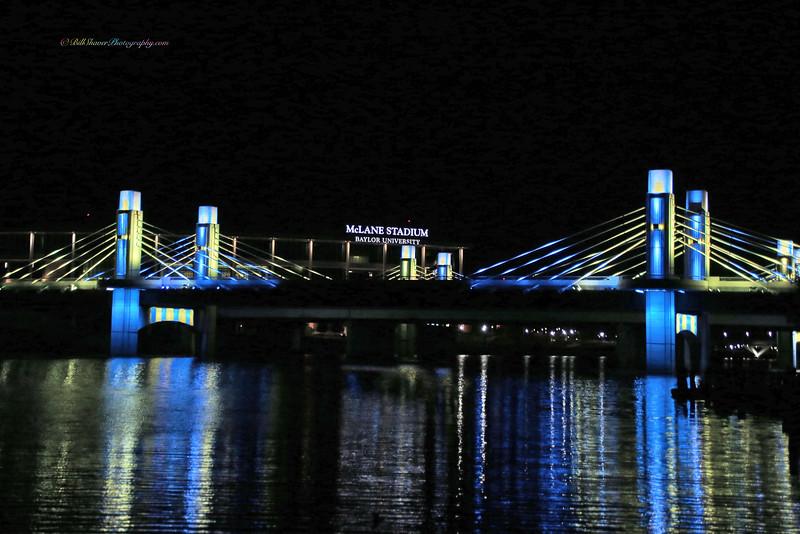 Baylor Stadium & I 35 Bridge (Blue & Yellow)