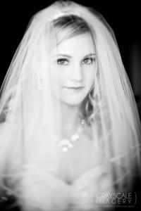 Bride portrait, black and white