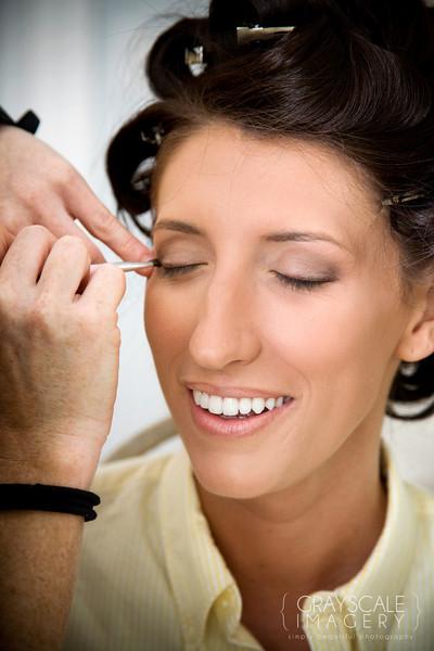 Bride having eyelashes done