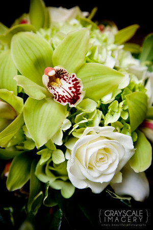 bouquet - lime orchid, white rose, lime hydrangea
