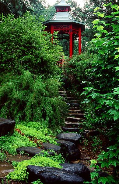 ROCK STEPS TO GAZEBO IN THE JAPANESE GARDEN IN THE U.S. NATIONAL ARBORETUM IN WASHINGTON D.C.