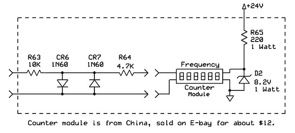 Counter interface circuitry.  The counter operates fine up to 35Mc or so.