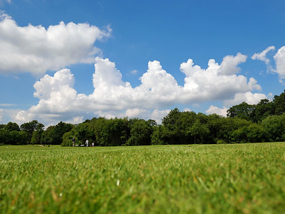 Blue sky and puffy white clouds in South Hill Park