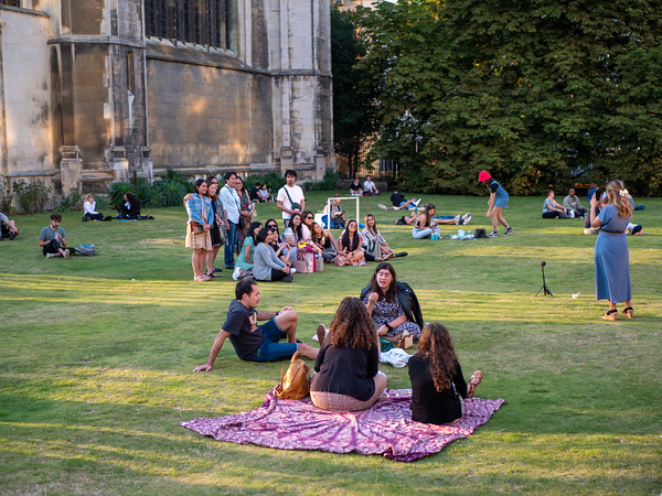 Students or visitors at Kings College, Cambridge
