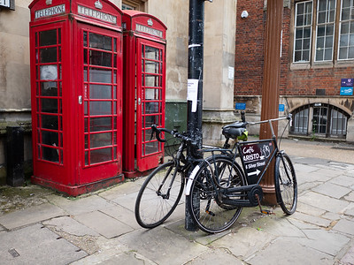 Iconic red telephone booth, Cambridge