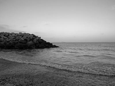 Rocks at Preston beach, Weymouth, England, UK. Image in black and white