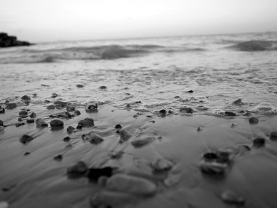 Rocky beach and pebbles at Preston beach, Weymouth, England, UK. Image in black and white.