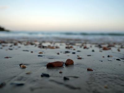 Rocky beach and pebbles at Preston beach, Weymouth, England, UK