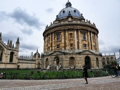 Woman in front of Radcliffe Camera