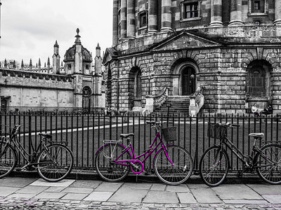 Purple bicycle at Radcliffe Camera