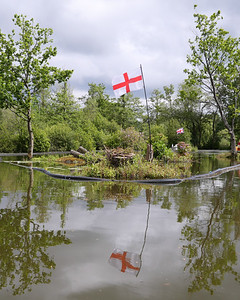 England flag. Reflection in the water
