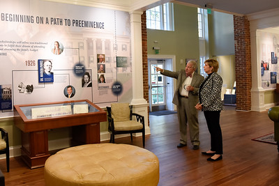 Former GC President Dr. Steve Dorman gives  President Cathy Cox a tour of Heritage Hall. President Cox became GC's 12th President on October 1, 2021.