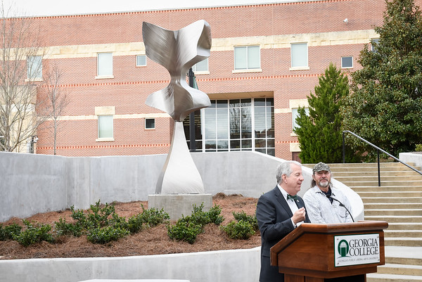 "Dr. Dorman and artist Mike Roig at the ""Spreading Her Wings"" Unveiling"