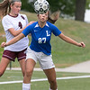 Groton Dunstable Regional High School girls soccer visited Doyle Field in Leominster to play Leomisnter High School on Tuesday Afternoon, September 24, 2019. LHS's #27 Olivia Martinez-Reynolds and GDRHS's #4 Jackie Gervais. SENTINEL & ENTERPRISE/JOHN LOVE