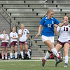 """Groton Dunstable Regional High School girls soccer visited Doyle Field in Leominster to play Leomisnter High School on Tuesday Afternoon, September 24, 2019. LHS""""s #24 Olivia Gallo and GDRHS's #19 Natalie Childs. SENTINEL & ENTERPRISE/JOHN LOVE"""