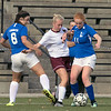 Groton Dunstable Regional High School girls soccer visited Doyle Field in Leominster to play Leomisnter High School on Tuesday Afternoon, September 24, 2019. LHS's #6 Madison Paine and #11 Sorcha O'Malley fight for control with GDRHS's #3 Mia Devereaux. SENTINEL & ENTERPRISE/JOHN LOVE
