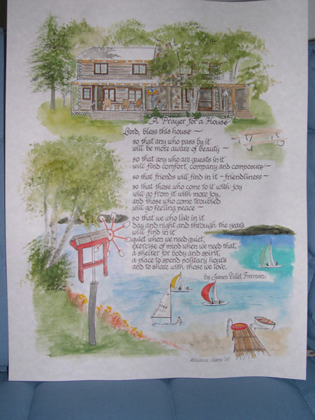 "This is a ""bless this house"" poem with the background the log cabin on one of Michigan's lakes where it will hang."