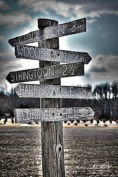 Old Town Crossroads: This is an old sign post in a small farming neighborhood in South Jersey.   You don't find this type of rustic in many places anymore.  Treatment done with Photoshop