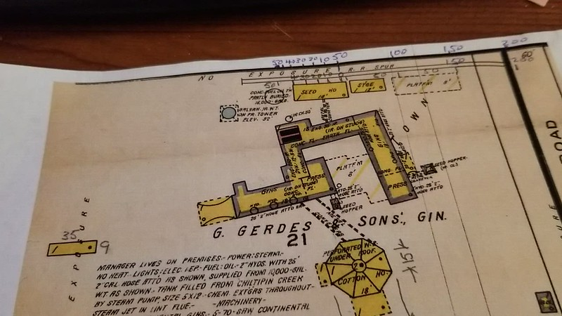 VIDEO UPDATE 4/28/2021 !   ...Short VIDEO of Casper's gin layout and home on Chiltipin Creek.. taken from a fire protection survey/drawing dated in 1922, I found of the entire gin property. I will be drawing the entire area.... One thing I failed to mention is that Casper bought another gin somewhere around 1922 and moved it to this property,  doubling the capacity , and that may be why the arrangement/layout of the main building looks odd. ,