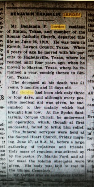July 11, 1919- Obituary of Benjamin Franklin Gerdes
