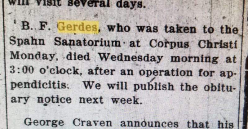 June 27, 1919, Benjamin Franklin Gerdes ...botched operation???