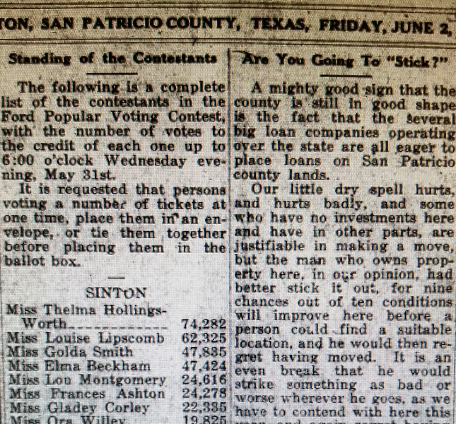 "Listing of the number of ""points"" by Sinton Women. It seems that Thelma Hollingsworth is probably SELMA, one of cousin Sally Gerdes' aunts, originally from Louisiana..(she must have really wanted that car.. and a big spender !)"