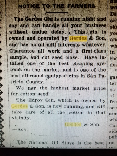 "August 29, 1919--Interesting that he said ""no oil mill interests whatever""...."