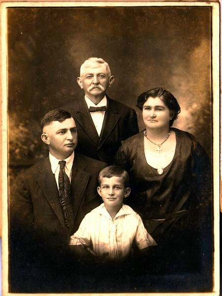 "This picture is of my Great-Grandfather Joseph F. Meyer, his daughter, my Grandmother Antonia Frances Meyer, her first son, Victor Ben Gerdes, Sr, (March 4, 1891)and Victor's son Gilbert ""Gibby"" Gerdes, Sr., the father of Gilbert ""Gibbo"" Gerdes, Jr.As the family stories go, Joseph owned the ""Last Chance Saloon"" in Hallettsville. (The story goes that the sign facing the railroad station said ""First Chance Saloon"" and ""Last Chance Saloon"" on the opposite side.) He was born in Germany and immigrated on the Bark Friedrich Grosse from Bremen thru Galveston/Harrisburg, to LaGrange, arriving on October 18, 1853 when he was 11 years old.He died in Shiner. and is buried in the Meyer/Pagel Cemetery off FM530 on county road 134 in Lavaca County, Texas. Refer to the image of his obituary."