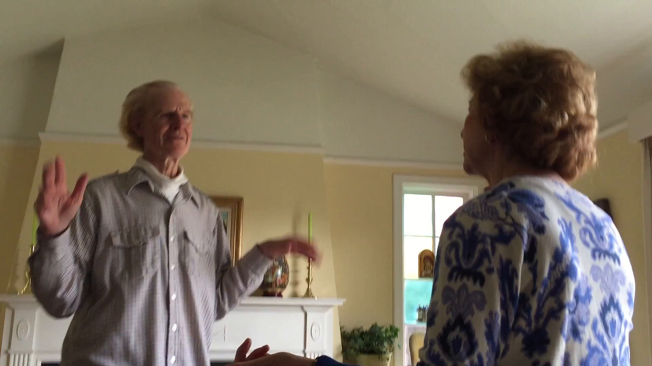 Tom and Betty Cotton visit Gerry and Mary Fallon at their home in San Marino, California