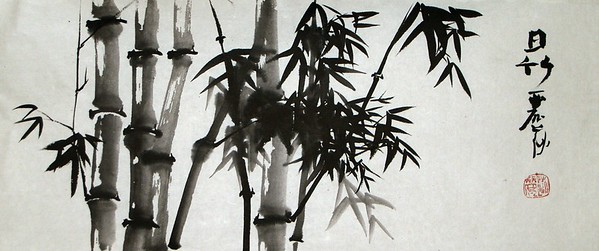 Sunlight on Bamboo, 12 x 29 inches, ink on xuan paper, mounted