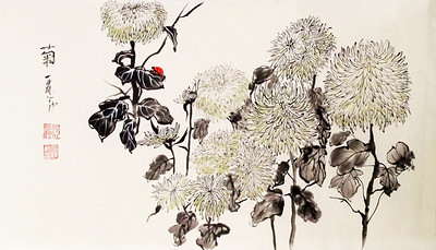Chrysanthemum Garden, 13.5 x 23 inches, Chinese ink and watercolor on hanshi, dry mounted.  SOLD