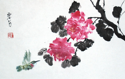 "Hummingbird and Roses, 16"" x 23"" Ink/watercolor on xuan paper, mounted"