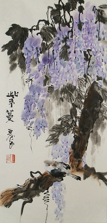 "Wisteria, 23.75""  x 10.25"", Chinese ink and watercolor on xuan paper,mounted."