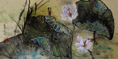 Lotus and Scarlet Darters: Chinese ink and watercolor on beige Xuan paper with metallic flecks 13.5 x 26 inches.