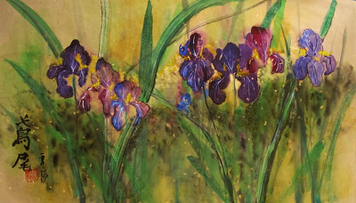 Stand of Iris: Chinese Ink on beige Xuan paper with metallic flecks, 13.5 x 24 inches