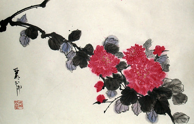 "Peony Study #2, 14.5"" x 20.5"", Chinese ink and watercolor on xuan paper, mounted"