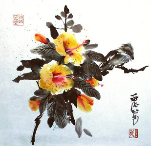 Hibiscus and Bird,  16 x 18 inches, 41 x 46 cm, Chinese Ink and Watercolor on pi paper