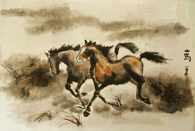 """Running - Two Horses, Chinese ink and watercolor on 'Ma"""" paper, drymounted. 18 x 27 inches."""
