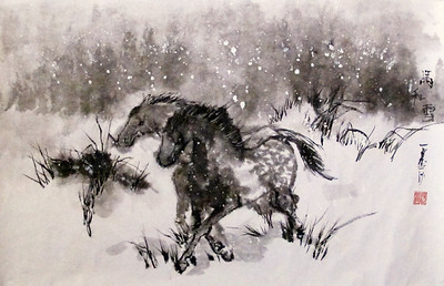 "Two Horses and Snow, Chinese ink and watercolor on 'ma' paper, drymounted. 17 x 26.  SOLD. This painting was awarded the 2015 Palm Art Award Certificate of Excellence. http://www.palm-art-award.com/icon-paa-excellence.jpg Two Horses was featured in the online literary magazine ""Gingerbread House"" in their Issue 11, February 2015. http://gingerbreadhouselitmag.com"