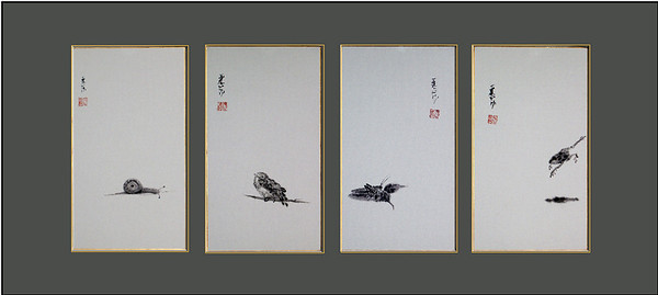 Four Short Pieces:  Snail, Bird, Grasshopper, Frog.  Brush and sumi on gold-edged shikishi.  Each panel measures 19 in. x 10.25 in. (49 x 26.5 cm).