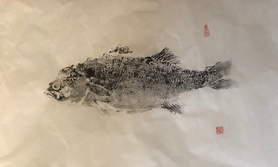 Gyotaku (Fish print):  sumi on washi, 24' x 36""