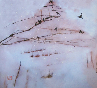 Birds in Snowfall.  12.5 x 13.75 inches.   Walnut ink, sumi and watercolor painted over a digital photograph of a marble tile printed on washi (Hosho) -- a particular kind of Japanese paper.  Original. One of kind.