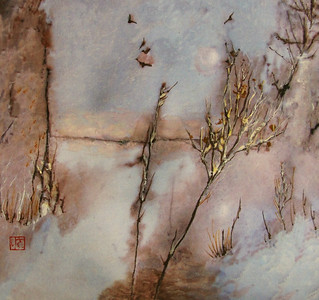 Frozen Pond and Hoarfrost, 11.75 x 12.75 inches Walnut ink/sumi/watercolor over digital photo printed on Hosho (a type of Japanese paper). Original, one of a kind.