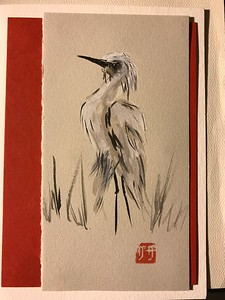Heron sketch, ink/watercolor on card
