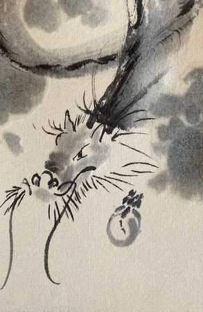 Ink sketch of Cloud Dragon on washi card